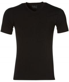 Nils T-shirt v-hals - extra lang - zwart