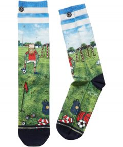 Xpooos sokken voetballer - lichtblauw