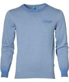 sale - British Indigo pullover - slim fit - blauw