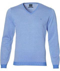 Nils pullover v-hals - slim fit - blauw