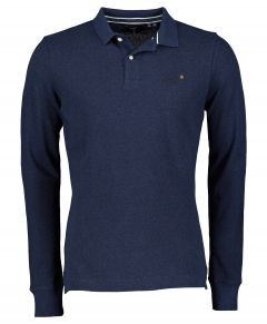 Superdry polo lange mouw - slim fit - blauw